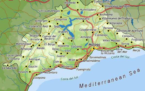 Karta över Costa del Sol