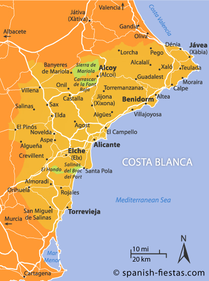 Costa Blanca map